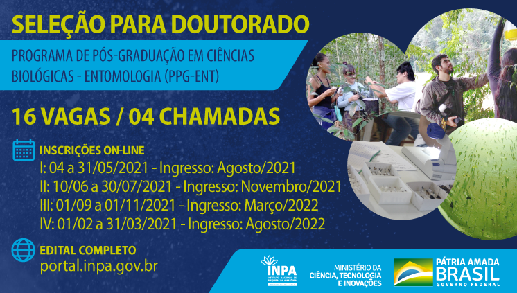 Seleção para o curso de Doutorado em Entomologia do Inpa oferece 16 vagas